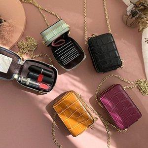 RAZALY Genuine Leather WOC borse e borse del sacchetto piccolo lembo Mini Card con le donne Borse Specchio frizione catena qgCa #