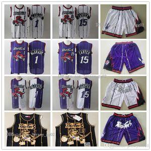 Männer TorontoRaptorsnba Throwback Jerseys Vince Carter 15 Tracy McGrady 1 Basketballshorts Basketball Jersey lila weißes Gold