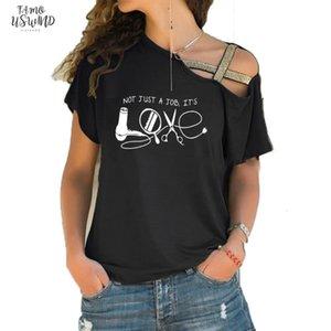 Hairdresser T Shirt High Quality Knitted Sunlight Women T Shirts Humorous Top Tee Irregular Skew Cross Bandage Tee Tops