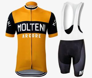 여름 클래식 1976 레트로 사이클링 저지 GEL 통기성 패드 정장 남성 도로 자전거 프로 팀 오렌지 블랙 핑크 경주 자전거 의류 셔츠