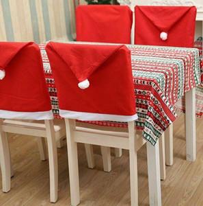 Noel Sandalye Odası Dekor Dokumasız Parti Noel Dekorasyon Sandalye Kapak KKA7983 Yemek Red Santa Hat Sandalye Örtüleri