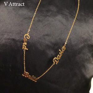 V atraer clientes Tres mujeres Collar conocido personalizado de los mejores amigos de joyería de oro hecho a mano varios nombres Bijoux Collier Femme CX200725