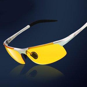 Driver telaio occhiali da sole polarizzati con alluminio-magnesio uomo tenperament Occhiali da sole Night Vision Goggles anabbagliante Sunglass