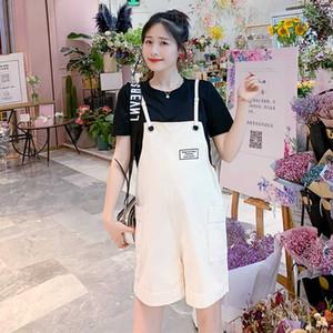 1879# Summer Korean Fashion Maternity Bib Shorts Elegant Loose Overalls Pants For Pregnant Women Pregnancy Casual Jumpsuits