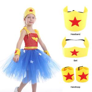 Cadılar Bayramı Wonder Woman Cosplay Kostüm İçin Büyük Kız Elbise Noel Kid Kamuflaj Yukarı Tören Parti Prenses Frock Çocuk Kabarık Kemer Tunik