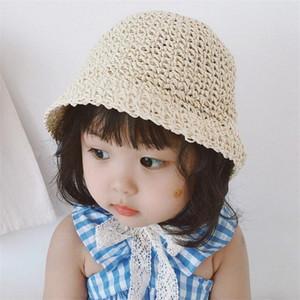 Корейские моды Cute Cap девочек Для мальчиков Соломенной шляпки лето шлемов Sun для детей Детей Открытого пляж Cap Panama Складной 9HSc #