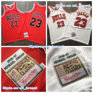 Erkekler ŞikagonbaBullsMichaelJrdan Mitchell Ness Beyaz Kırmızı 1996-1997 ParkeKlasikler Otantik Oyuncu Formalar Jersey