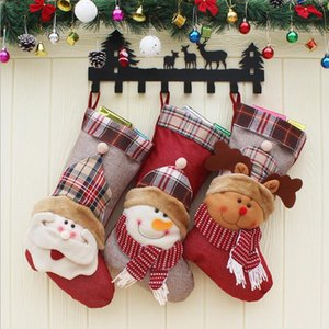 Christmas Stocking Sack Gift Decoration 3D Santa Snowman Reindeer Candy Bag Gift Pendant Drop Ornaments Decorations For Home LXL444
