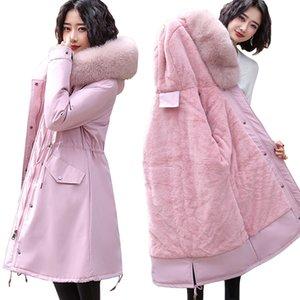 New 2020 Women's jackets parkas Female coat Winter Warm Fur Lining Hooded Winter Jacket Women Big fur collar Women's down jacket