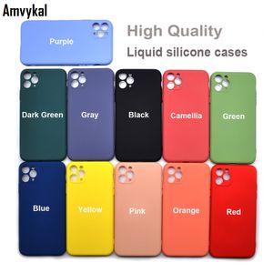 Luxus-flüssige Silikon-Hüllen für Apple iPhone11 PRO MAX 7 8 PLUS XR X XS 11PRO 11 Telefonabdeckung Stoßfest Hülle