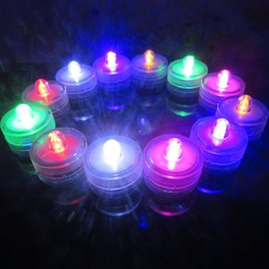 Forma 3CM tondo colorate mini sommergibili luci LED LED impermeabili Candele subacquee Tealights per la festa nuziale / Floralyte LED ZA1516