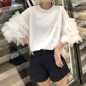 CHEERART Summer Oversized T Shirt Women Short Sleeve Mesh Top Cotton Tees Shirt Femme Puff Sleeve Top Korean Streetwear CX200713