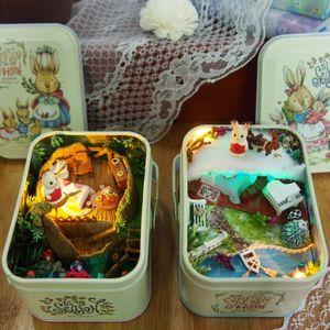 Iron box 3D Wooden DIY Handmade Box Theatre Dollhouse Miniature Box Cute Mini Doll House Assemble Kits Gift Toys MX200414