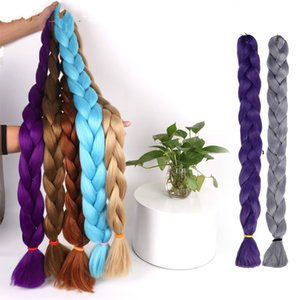 Synthetic Crochet Braids In Jumbo Braiding Hair One Piece 82 Inch 165g pcs Pure Color In Hair Extensions