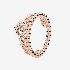 18K Rose Chapado Crown Ring Anillo Mujeres Joyas de boda para Pandora Sterling Silver Princess Tiara Anillo de corona con caja original