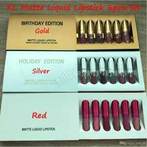 Nuova edizione KL oro Lipgloss cosmetici 6 colori impostati vacanze Matte Lip Gloss Lip Kit compleanno Edition con oro argento al minuto di imballaggio