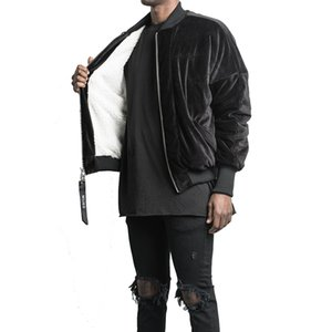 Mens Jackets Hip Hop Double Zipper Fleece Jacket Black Gray Winter Thicking Streetwear Velvet Jackets Outwear