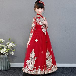 Little Girls Toddler Elegant Wine-red Embroidery Flowers Birthday Wedding Party Prom Dress Kids Teens Luxury Host Piano Dress T200709