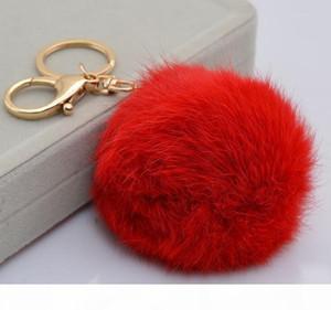 K Real Rabbit Fur Ball Keychain Soft Fur Ball Lovely Gold Metal Key Chains Ball Pom Poms Plush Keychain Car Keyring Bag Earrings Access