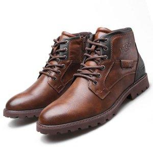 Retro Erkek Cizme Deri İlkbahar Sonbahar Vintage Stil Bilek Boots Erkek Lace Up Ayakkabı Moda rahat ayakkabı erkekler Botaş Hombre