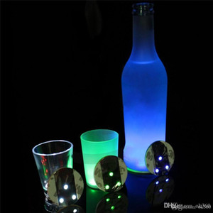 LED Flashing Light Bulb Bottle Cup Mat Coaster For Club Bar Party Gift 3M Sticker Cup Mug Coaster