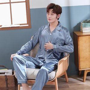 hcK4Z Autumn 2020 pajamas home clothes set men's summer long sleeve simulation silk thin plus size youth Ice Silk solid color home clothes s
