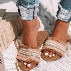 Summer Bohemia Beach Slipper Mixed Color Openwork Retro Roman Shoes for Women 2020 New Comfortable Girls Slipper Sandals