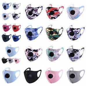 Máscara camuflagem Face Com respirável Válvula Dustproof Anti Fog cobrir a boca reutilizável lavável Camo Designer Máscaras 17styles RRA3364