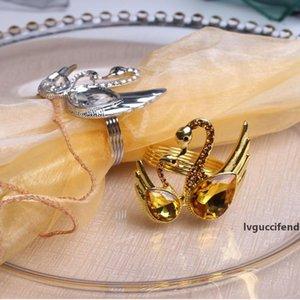 Swan Салфетка кольцо Золото Серебро Салфетка кольцо Высокое качество сплава Wed Салфетка кольцо держатель Таблица украшения