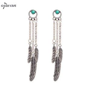Vintage Boho Earrings For Women Bohemian Tribal Jewelry Long Dangle Drop Earrings Gypsy Ethnic Feather Drops