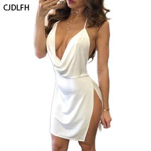 CDJLFH verano vacaciones elegante Bodycon del club del mini vestidos para mujer de la playa del ocio partido de la noche delgado atractivo del mini Vestido de tirantes con cuello en V vestido