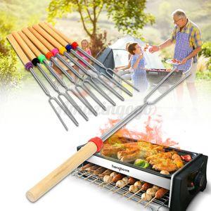 Camping Campfire Stainless Steel BBQ Marshmallow Roasting Sticks Extending Roaster Telescoping BBQ forks (random color) GH280