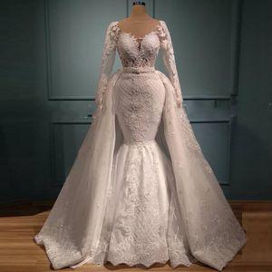 Luxury Lace Mermaid Wedding Dresses Sheer Long Sleeves Satin White Detachable African Bridal Gowns Dubai Designer vestidos de novia