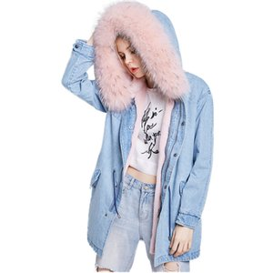Winter Jean Jacket Coat Women Real Fur Collar Hooded Jackets Female Warm Natural Fur Jackets Wool Lined Parka Outerwear