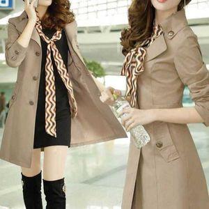 cGyLl High quality silk windbreaker women's autumn new Korean slim mid-length women's single-breasted Windbreaker silk scarf coat scarf coat