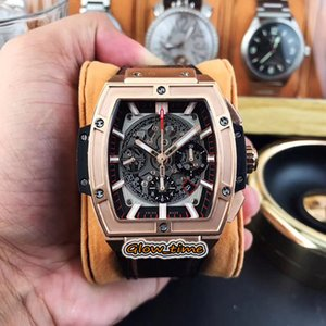 Top version SPIRIT OF 601.OX.0183.LR Skeleton Dial 7750 Chronograph Automatic Mens Watch Rose Gold Case Leather Strap Designer Sport Watches