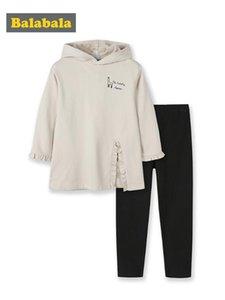 Balabala Children clothing suit girls spring 2020 new long hoodies children baby Korean version sweatershirt +pants sets
