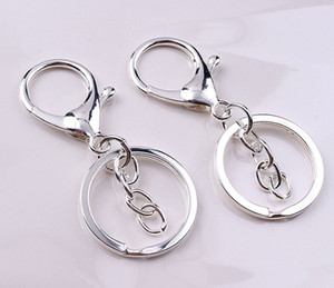 DHLfree 500pcs 30mm 3colors Key Chains Key Rings Round golden silver color Lobster Clasp Keychain T200804