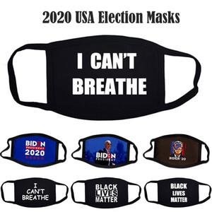 Maschere nere Lives Matter Unisex antipolvere Designer I Cant Breathe Maschere viso Cotton 2020 Maschere USA Elezione Fashion Designer Biden partito