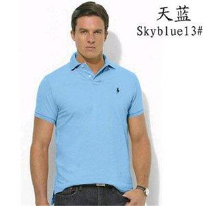 Männer Designer-Kleidung der Männer einfarbige Baumwolle Kurzarm T-Shirt Original-Single-Revers-Polohemd der Männer RALPH LAUREN bestickt