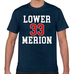 Топы T Shirt Мужчины ниже Мерион Повседневный Черный печати Мужской Tshirt