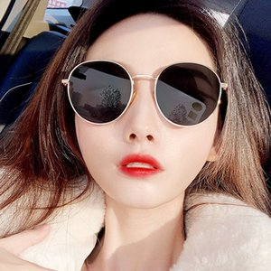 2020 Retro Round Pink Sunglasses Women Brand Designer Sun Glasses For Women Alloy Mirror