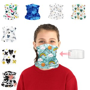 DHL Shipping Cartoon Bandana Protection Mask for Kids Children Seamless Neck Gaiter Breathable Magic Scarf Outdoor Face Shield 11 Style B99F
