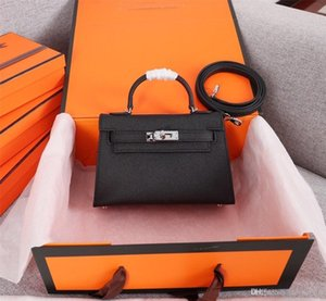 Klassischer Designer-Frauen-Handtaschen Schulter-Stil Mini-Bügel-Umhängetasche Tote-Geldbeutel-Qualitäts-echter Leder-Handtasche Handabdruck 12 Farben