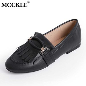 MCCKLE Women Slip On PU Leather Flat Shoes Ladies Fringe Metal Decoration Flats Shoe Woman Fashion Casual Female Loafer Footwear
