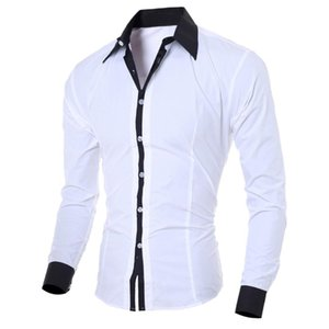 Slim Long-sleeved Mens' Dress Shirts Fashion Personality Solid Color Turn Down Collar Bussinessman Casual Shirts Social Blouse