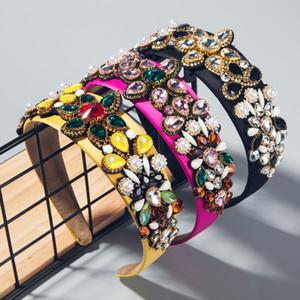 2020 high-end women's season hair band Baroque colored glass diamond with pearl headdress