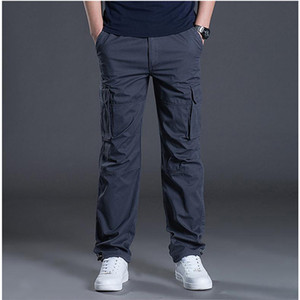 Spring Automne Hommes Mens Pantalon Casual Mens Pantalon Baggy Pantalon Coton ordinaire Mâle Combat Pantalon tactique Multi Poches