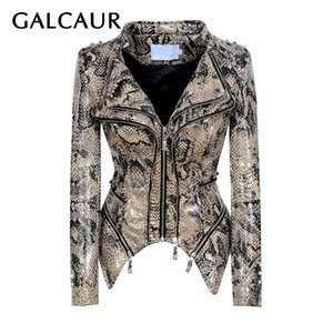 GALCAUR Leopard PU Leather Patchwork Rivet Jacket Para Mulheres lapela de manga comprida Collar magros Streetwear Feminino Casacos 2020 Novos