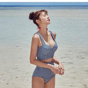 Korean high bikini swimsuit bikini waist split hot spring swimming suit women's small breasts gather steel ring to show thin belly